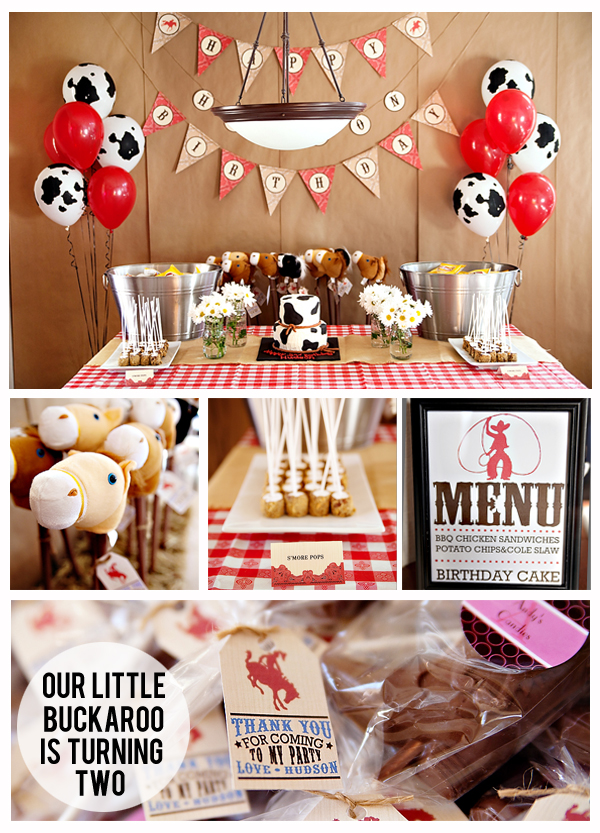 Our Little Buckaroo is Turning Two - Darling cowboy party with stick horses for favors, s