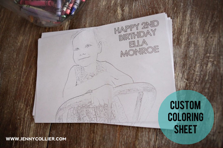Custom coloring sheet for birthday party