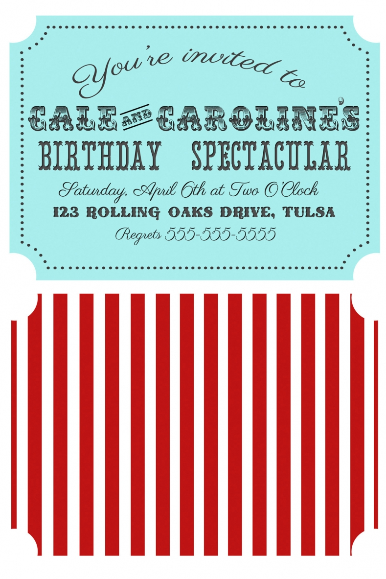 Circus or Carnival Party Red and Aqua Ticket-Style Invitation