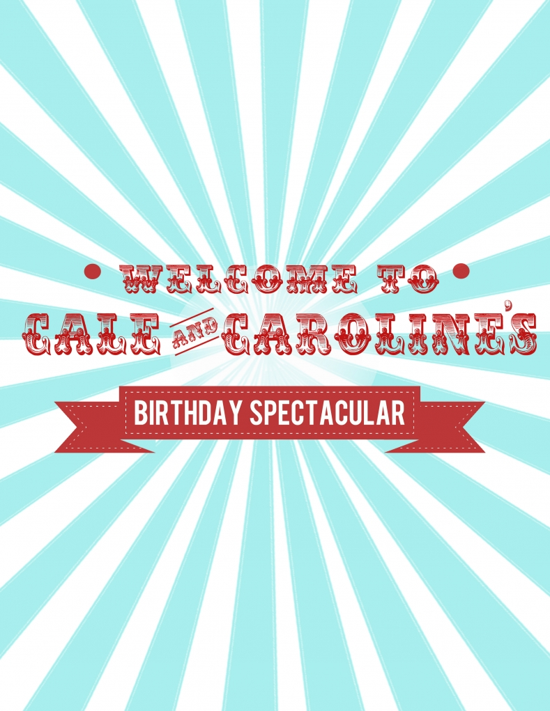 Circus or Carnival Party Red and Aqua Welcome Sign