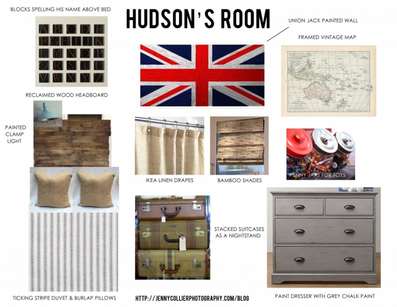 Toddler Boy bedroom inspiration with union jack wall, framed vintage map, palette headboard, ticking stripe duvet, burlap pillows, and vintage suitcases