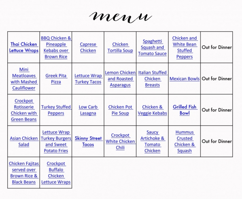 Healthy Menu & Grocery List » jenny collier blog