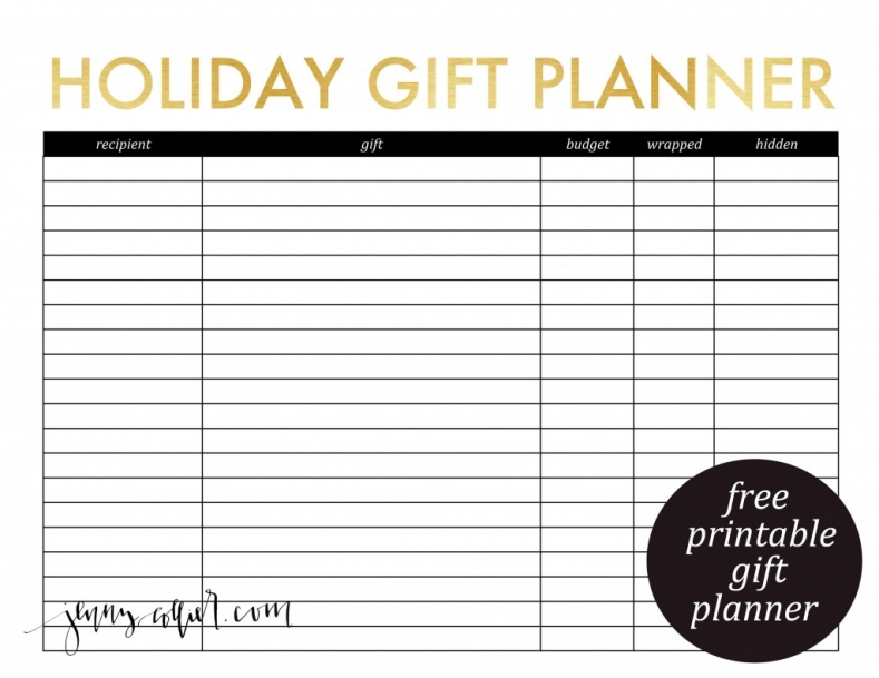Free holiday gift planner