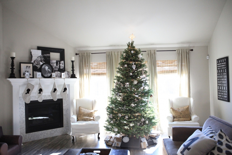 Neutral Home Decorated for the Holidays with Silhouette Stockings