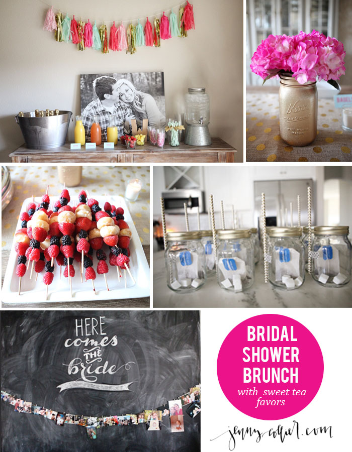 Pink, Gold, and Aqua Bridal Shower Brunch - Featuring sweet tea favors