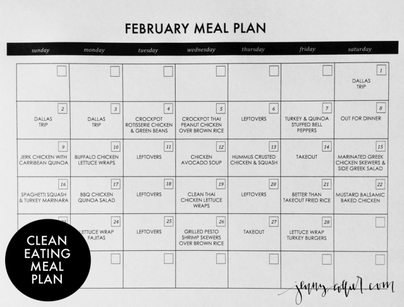 February Clean Eating Meal Plan » jenny collier blog