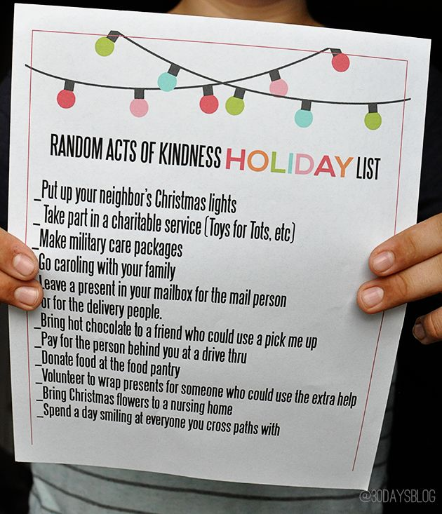 Holiday Random Acts of Kindness for Kids