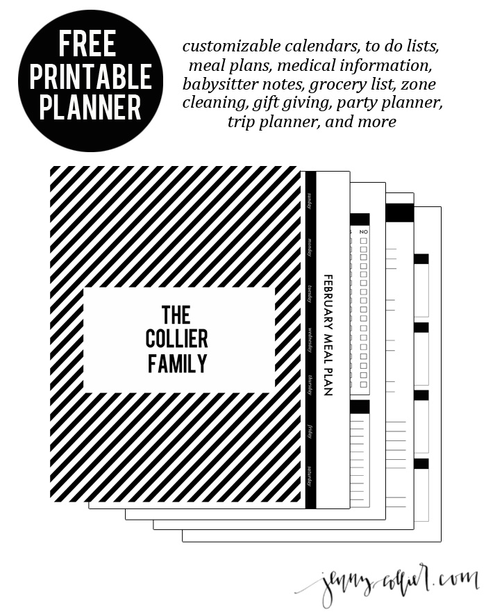 Diy printable planner jenny collier blog download this free printable planner that can also be used as a homekeeping binder notebook solutioingenieria Choice Image