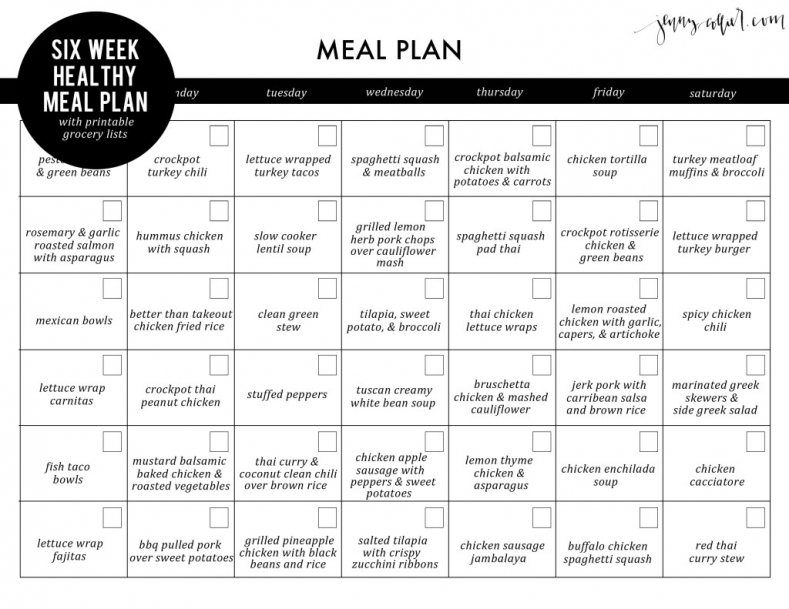 six week healthy meal plan with free printable grocery lists jenny