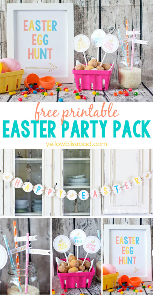 Free Easter Party Printables including a printable banner, straw flags, cupcake toppers, and Easter Egg hunt sign.