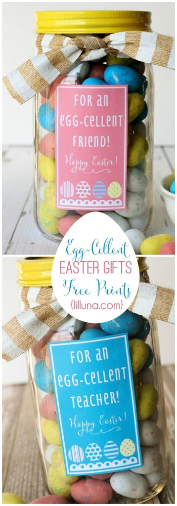 Free printable Egg-Cellent Easter gifts in jars.