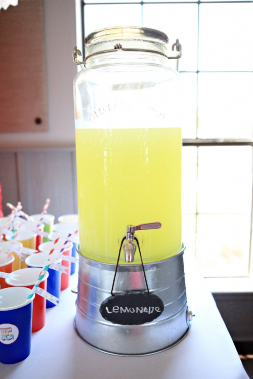 Lemonade in mason jar dispenser