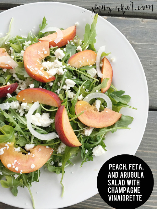 Peach, Feta, and Arugula Salad with Champagne Vinaigrette