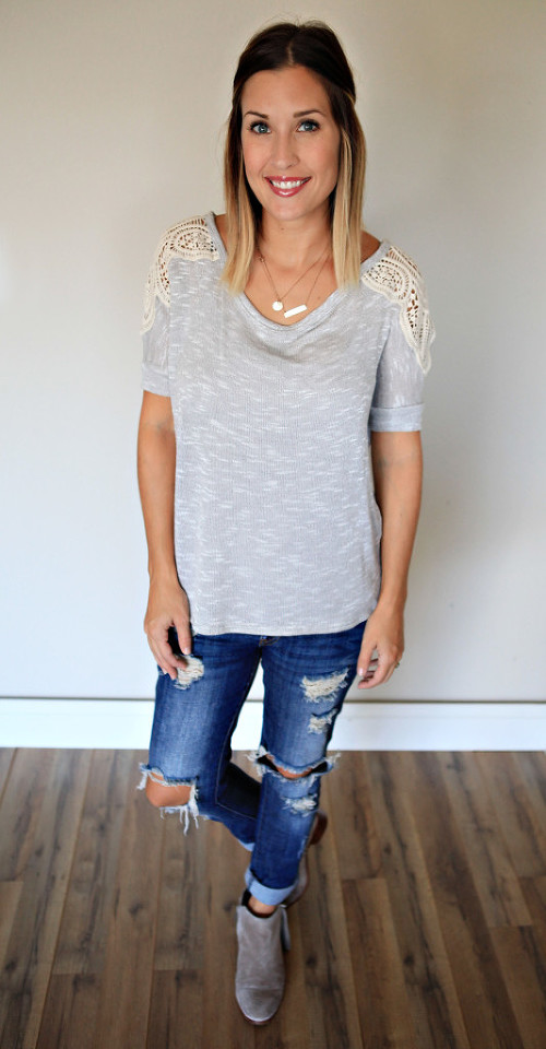 Grey top with crochet detail from Gray Monroe