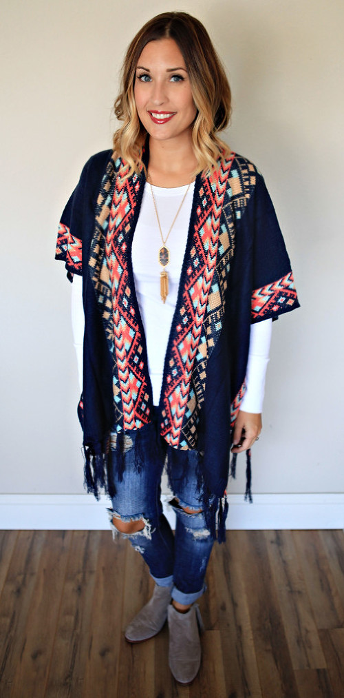 Aztec style poncho, distressed jeans, and booties from Gray Monroe