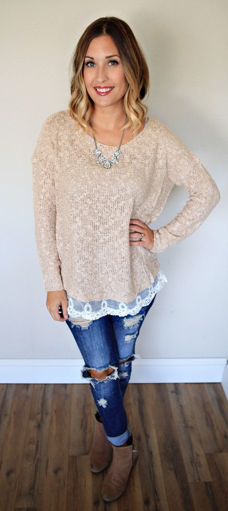 Beige sweater with lace detail from Gray Monroe