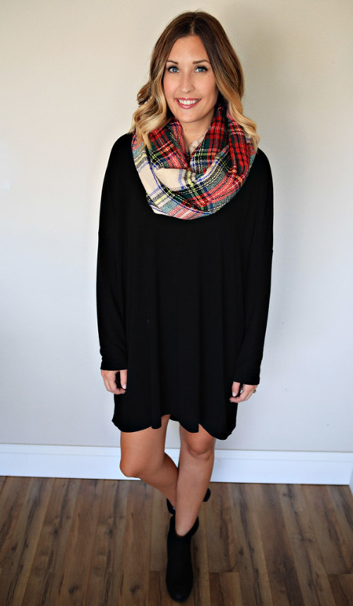 Black Drop Shoulder Tunic Dress from Gray Monroe