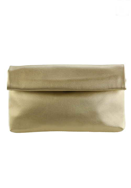 Gold fold over clutch from Gray Monroe