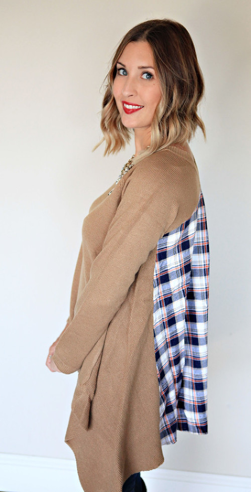 Camel sweater with asymmetrical hem and plaid back