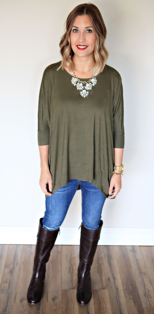 Fall style:  Olive colored top featuring quarter sleeves and an asymmetrical hem from Gray Monroe