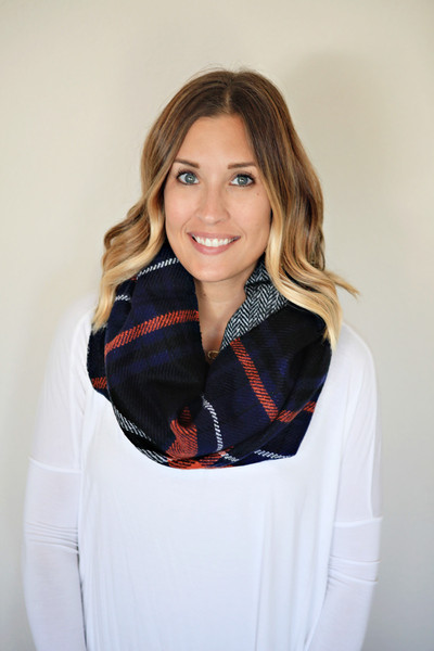 Navy, black, and orange infinity scarf from Gray Monroe