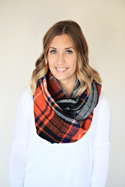 Orange, black, and blue infinity scarf from Gray Monroe