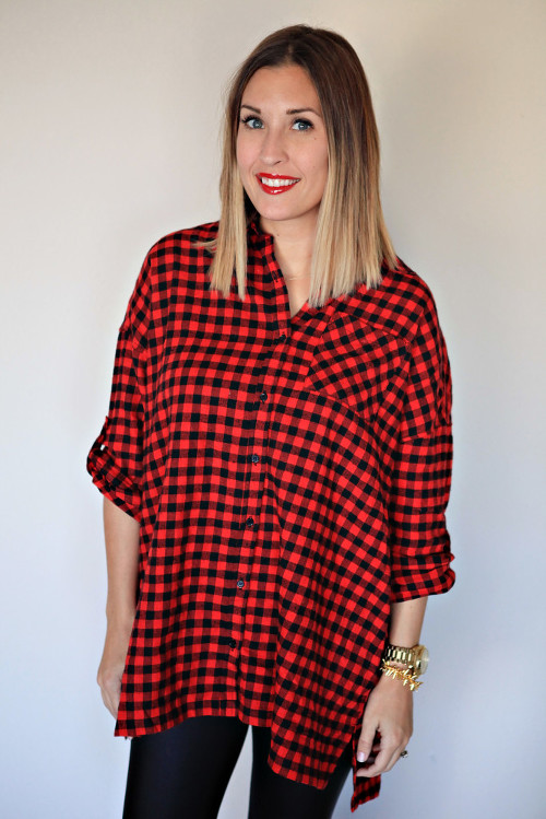 Red and black gingham tunic from Gray Monroe