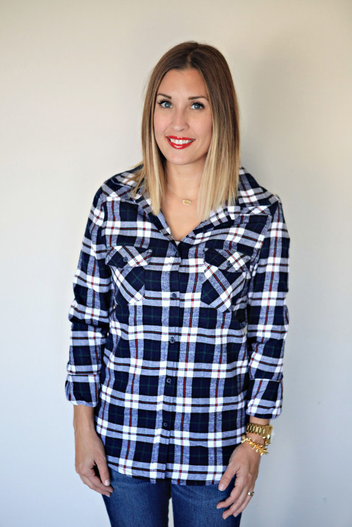Navy plaid button down with elbow patches from Gray Monroe