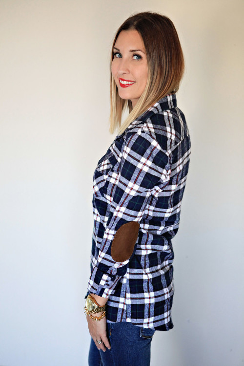 A navy plaid button up with elbow patches from Gray Monroe