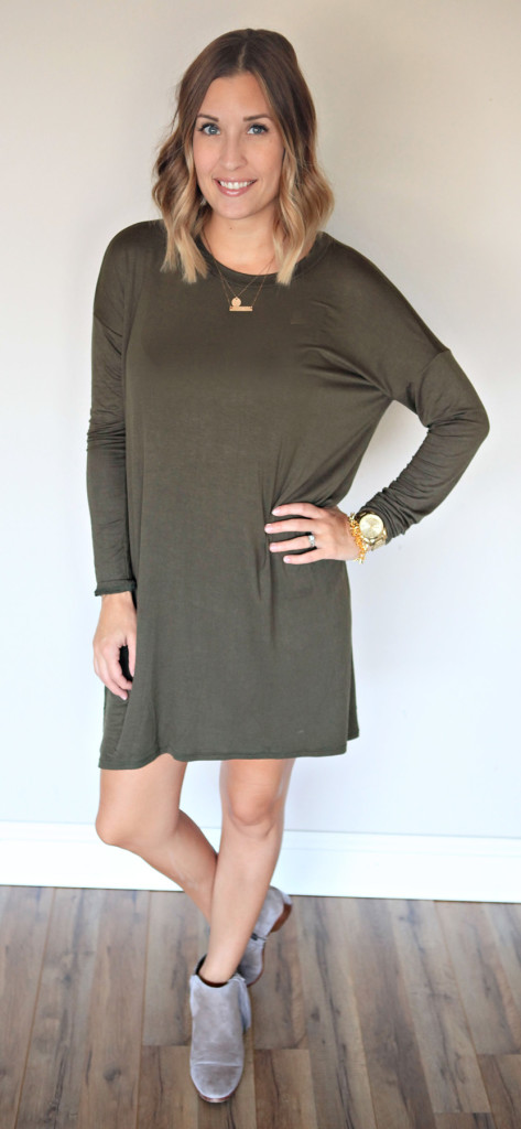 Piko style dress in olive
