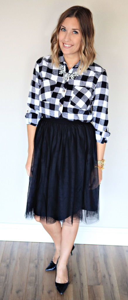 Black tulle skirt and black and white plaid top.