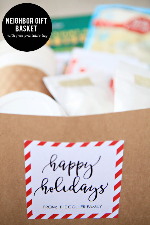 Neighbor Gift Basket with Printable Tag