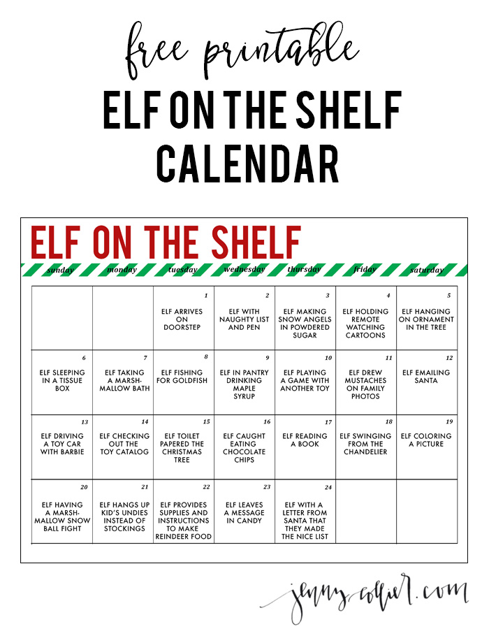 Elf on the Shelf Printable Calendar » jenny collier blog
