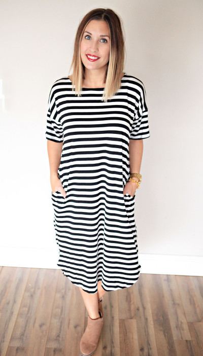 Black and white striped oversize dress with pockets from Gray Monroe