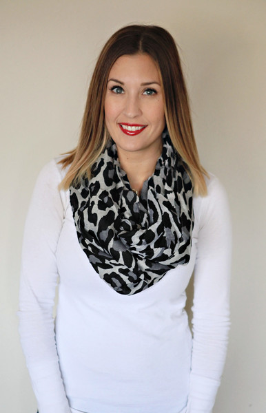 Black and grey leopard scarf from Gray Monroe