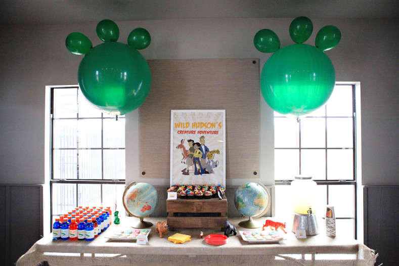 Treat table for Wild Kratts party with personalized printables