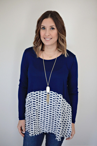 Spring style featuring a navy patterned swing top from Gray Monroe
