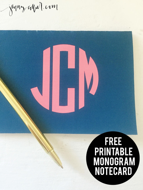 Free Printable Monogram Notecard