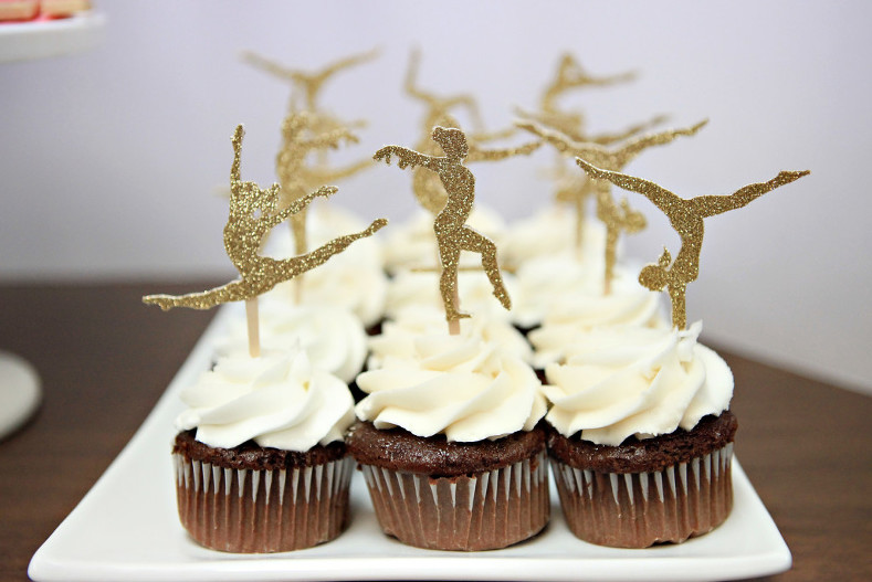 Gold glitter silhouette gymnast cake toppers for gymnastics party