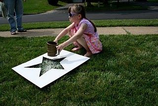 Flour stars on the lawn for 4th of July