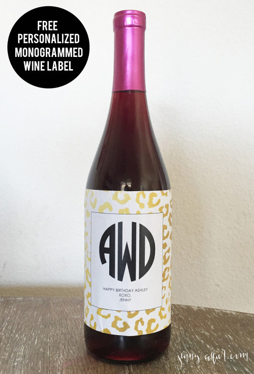 Free Personalized Monogrammed Wine Label